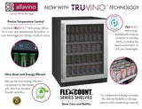 "Tru-Vino Stainless Steel Left Hinge 24"" Wide FlexCount II Beverage Center - TRUTAI"