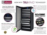Tru-Vino 121 Bottle Dual Zone Stainless Steel Left Hinge Wine Refrigerator - TRUTAI