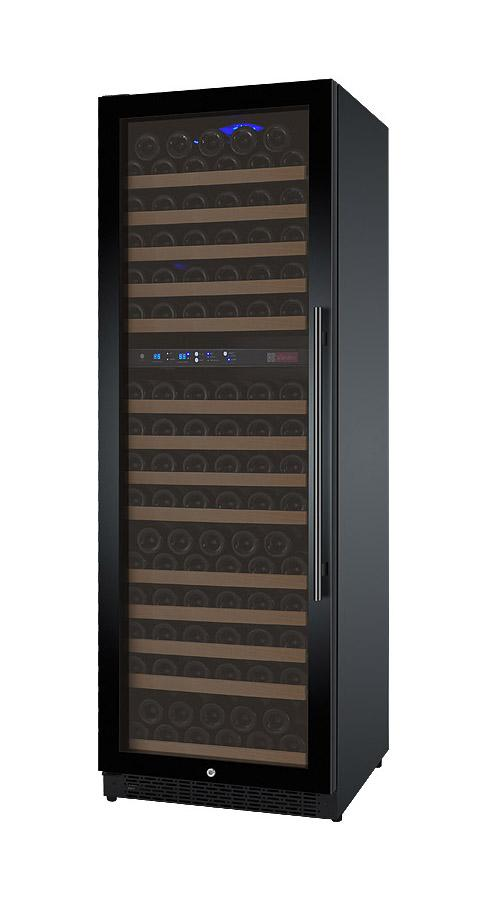 Tru-Vino 172 Bottle Dual Zone Black Left Hinge Wine Refrigerator - TRUTAI