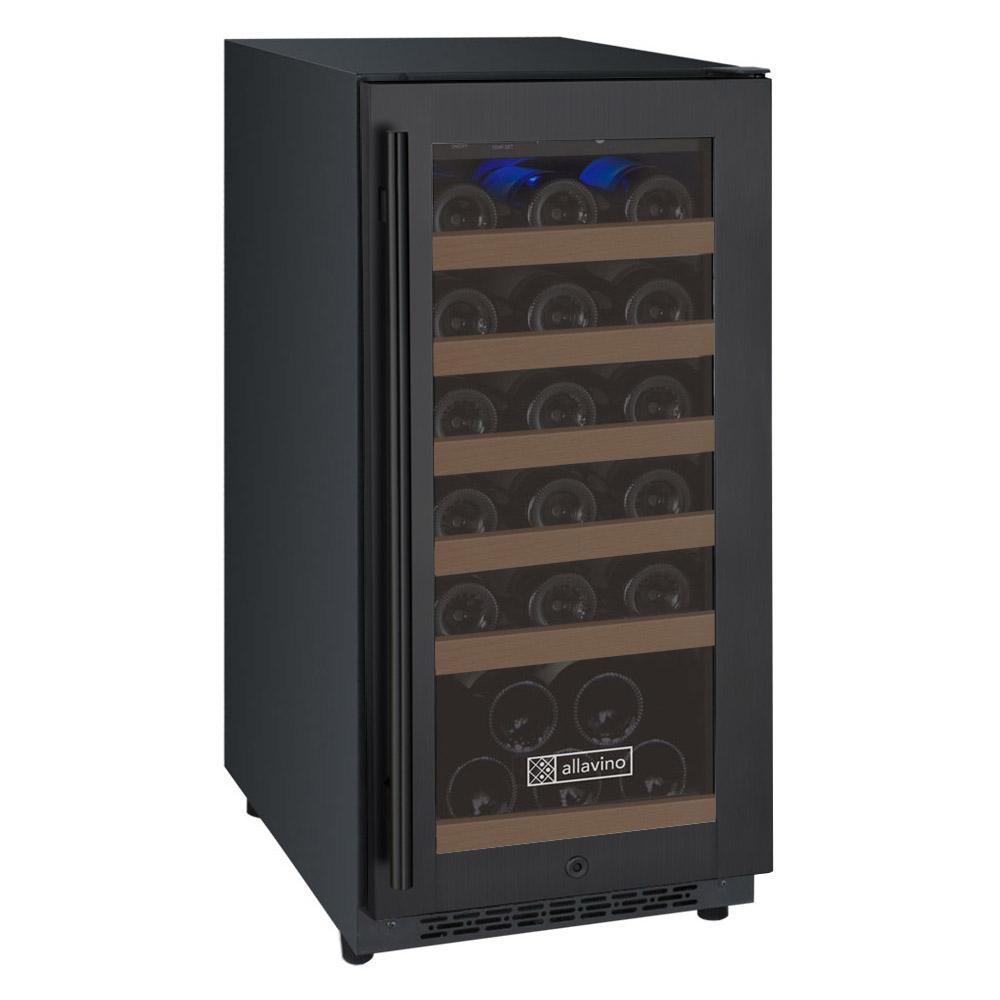 "Tru-Vino 30 Bottle 15"" Wide Single Zone Black Wine Refrigerator - TRUTAI"