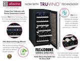 "Tru-Vino 15"" Wide 30 Bottles Stainless Steel Left Hinge Wine Refrigerator - TRUTAI"