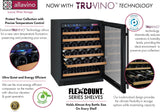 "Tru-Vino 112 Bottle Three Zone 47"" Wide Black Side-by-Side Wine Refrigerator - TRUTAI"