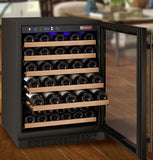 "Tru-Vino 24"" Wide 56 Bottles Single Zone Black Right Hinge Wine Refrigerator - TRUTAI"