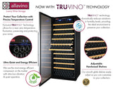 "Tru-Vino 554 Bottle Dual Zone Stainless Steel 63"" Side-by-Side Wine Refrigerator - TRUTAI"