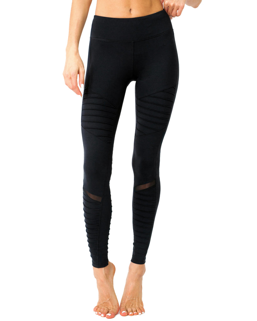 Black Athletic Low Waisted Ribbed Leggings With Hidden Pocket and Mesh Panels - TRUTAI