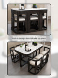 Modern Style Marble Solid Wood Dining Room Table Set - TRUTAI