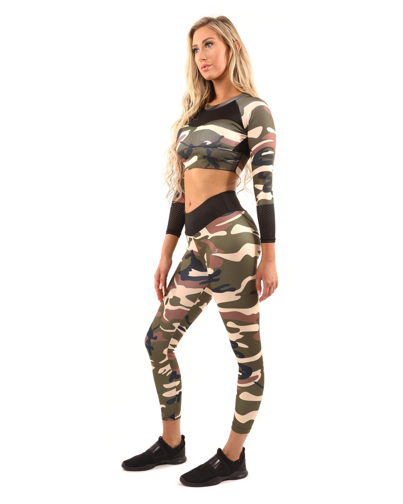 Virginia Camouflage Set - Leggings & Sports Bra - Brown/Green - TRUTAI