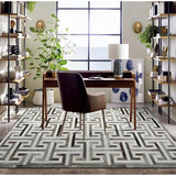 Gorgeous Greek Key Pattern Cowhide Skin Patchwork Rug - TRUTAI