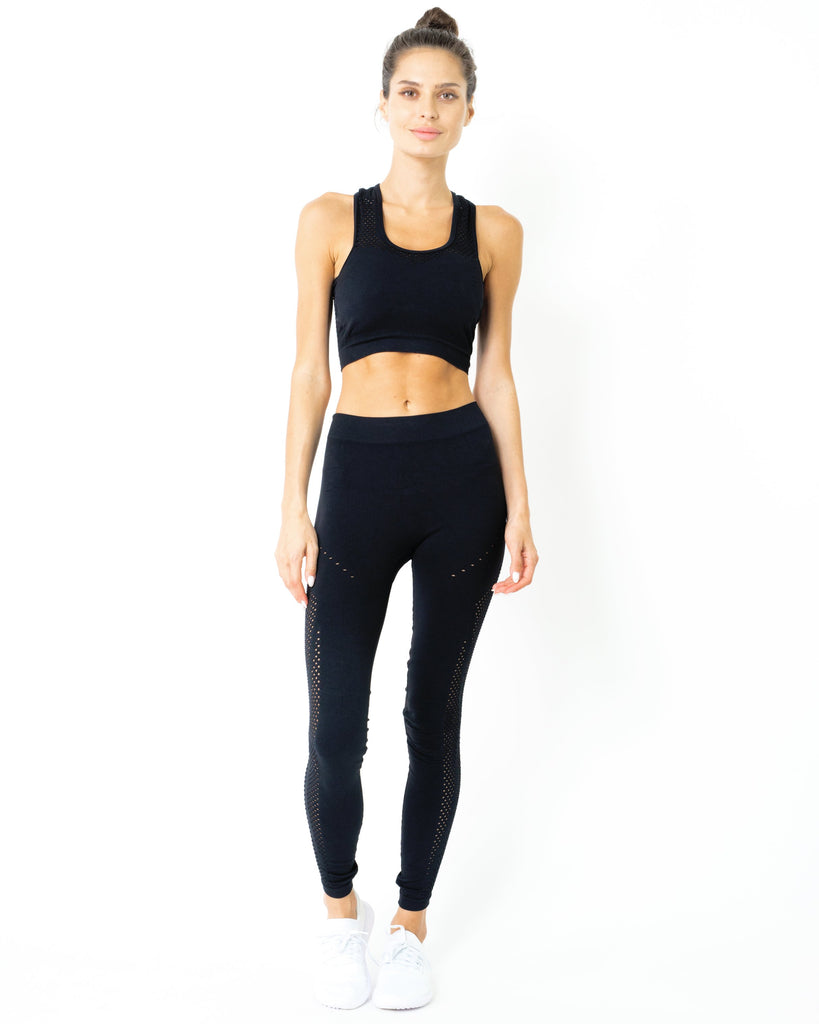 SALE! 50% OFF! Milano Seamless Set - Leggings & Sports Bra - Black [MADE IN ITALY] - TRUTAI