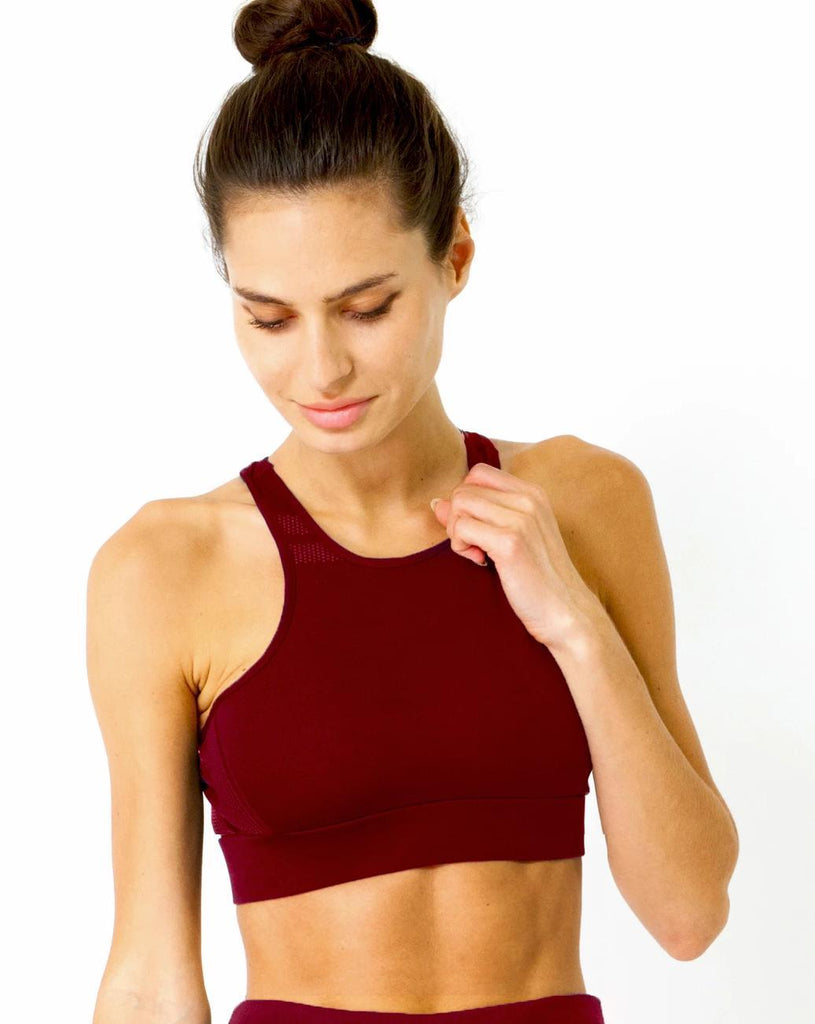 Ashton Sports Bra - Maroon - TRUTAI