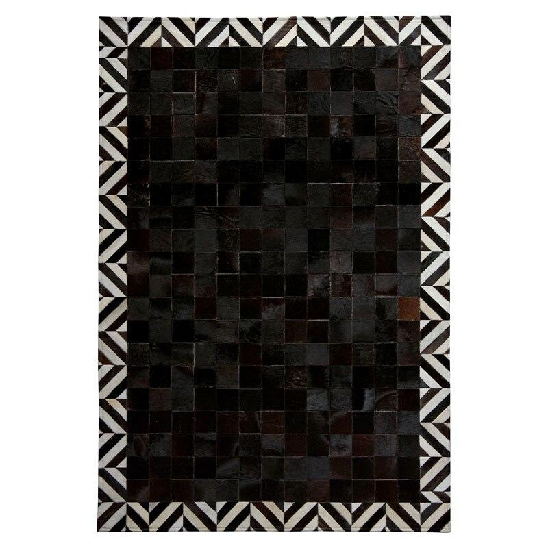 Luxury Black Squared Cowhide Rug With Perimeter White - TRUTAI