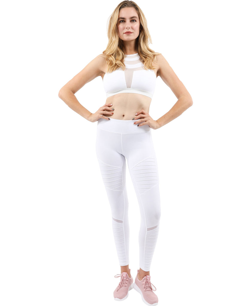 Athletique Low-Waisted Ribbed Leggings With Hidden Pocket and Mesh Panels - White - TRUTAI