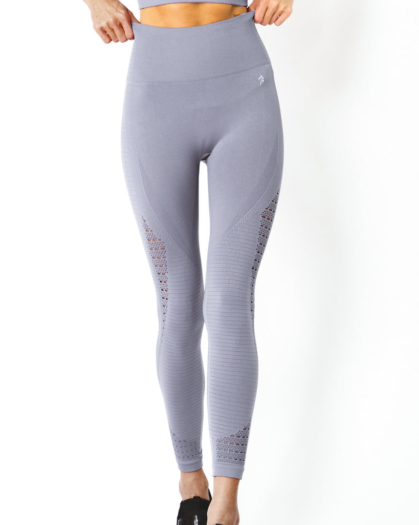 Mesh Seamless Legging With Ribbing Detail - Grey Purple - TRUTAI