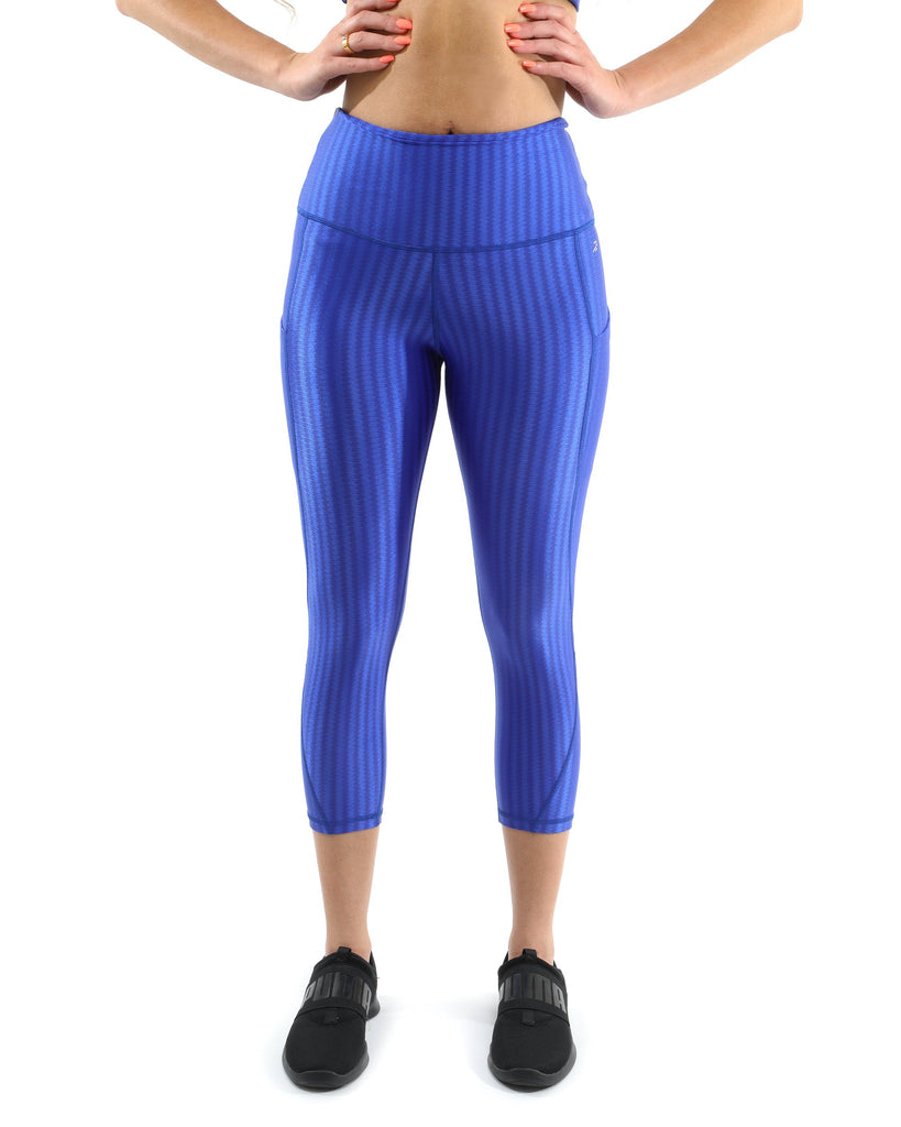 SALE! 50% OFF! Firenze Activewear Capri Leggings - Blue [MADE IN ITALY] - Size Small - TRUTAI