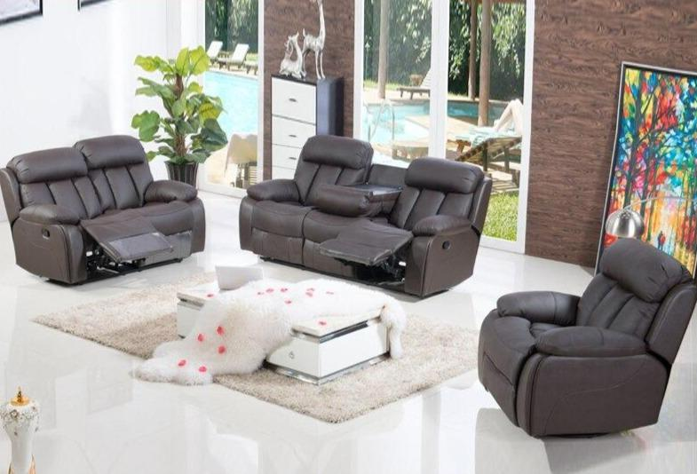 3 Seater Leather Power Recliner Motion Sofa - TRUTAI