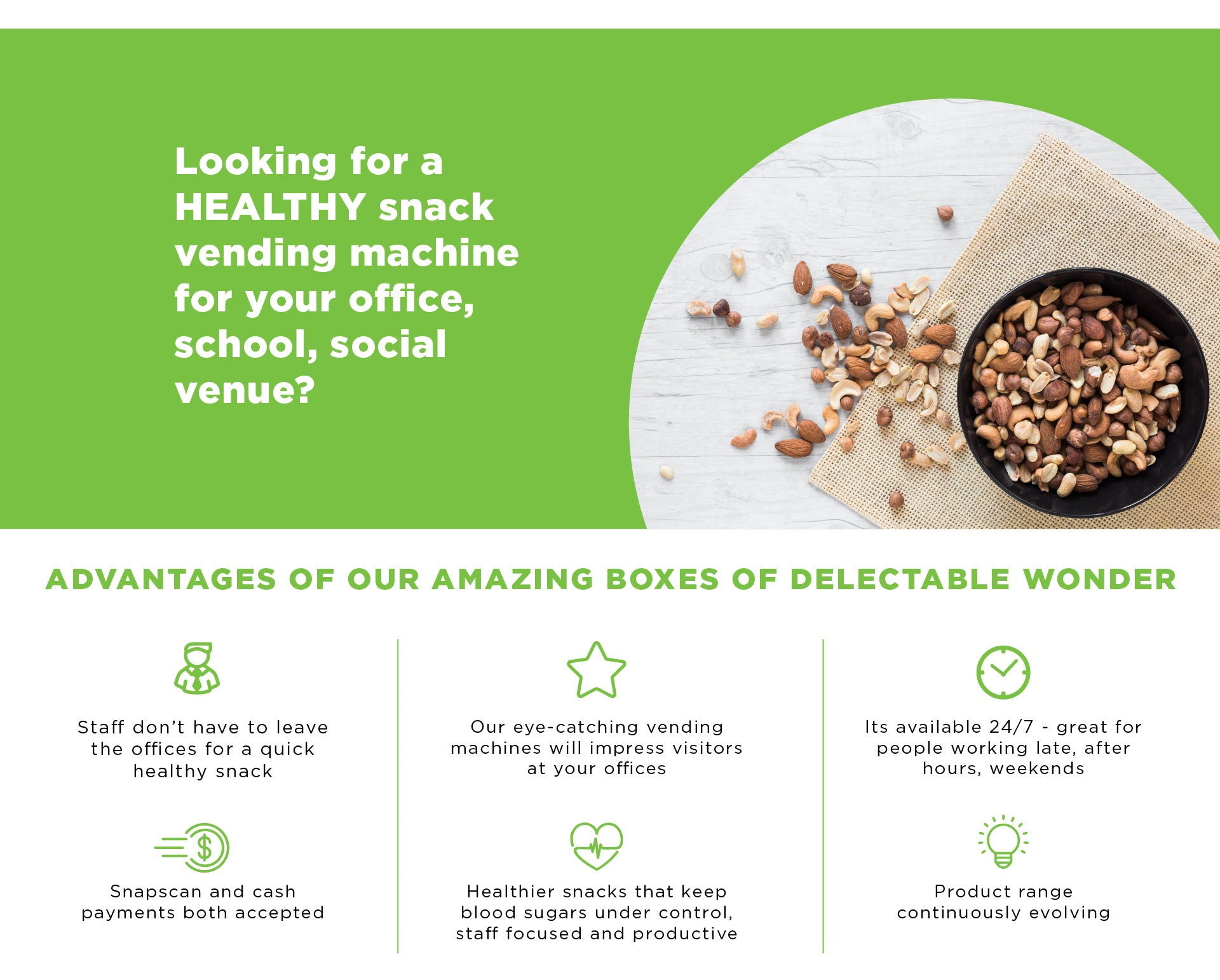 Looking for a HEALTHY snack vending machine for your office, school, social venue?