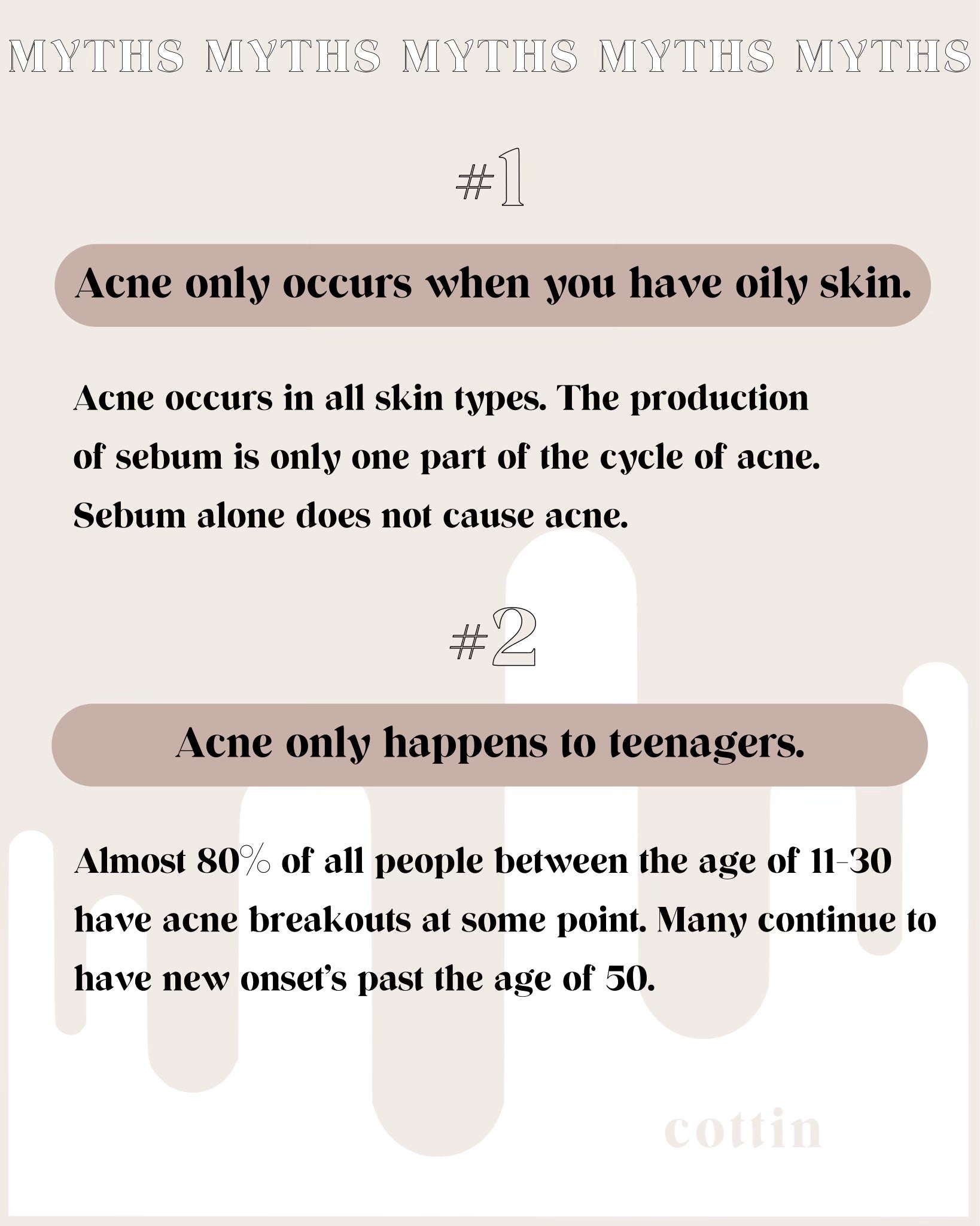 Cottin Acne myths! Let's set the record straight on some of the most common myths around the internet.
