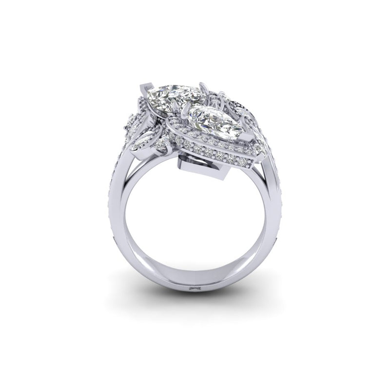 Ladies Platinum Bespoke Design 2.67ct Pear And brilliant Cut Diamond Ring