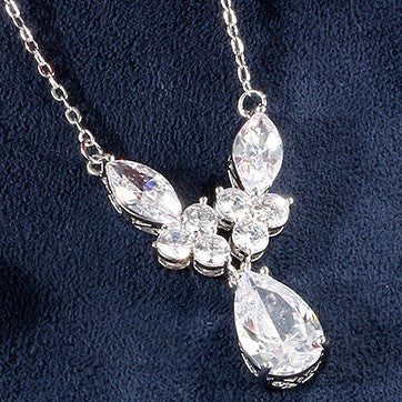 Macibride Marquise Pear And Round Swarovski Bridal Necklace