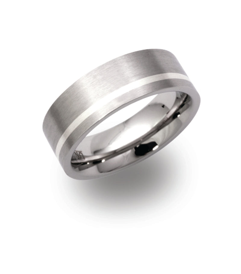 Gents Stainless Steel Ring 7mm Wide With Offset Silver Inlay Tramline R9117