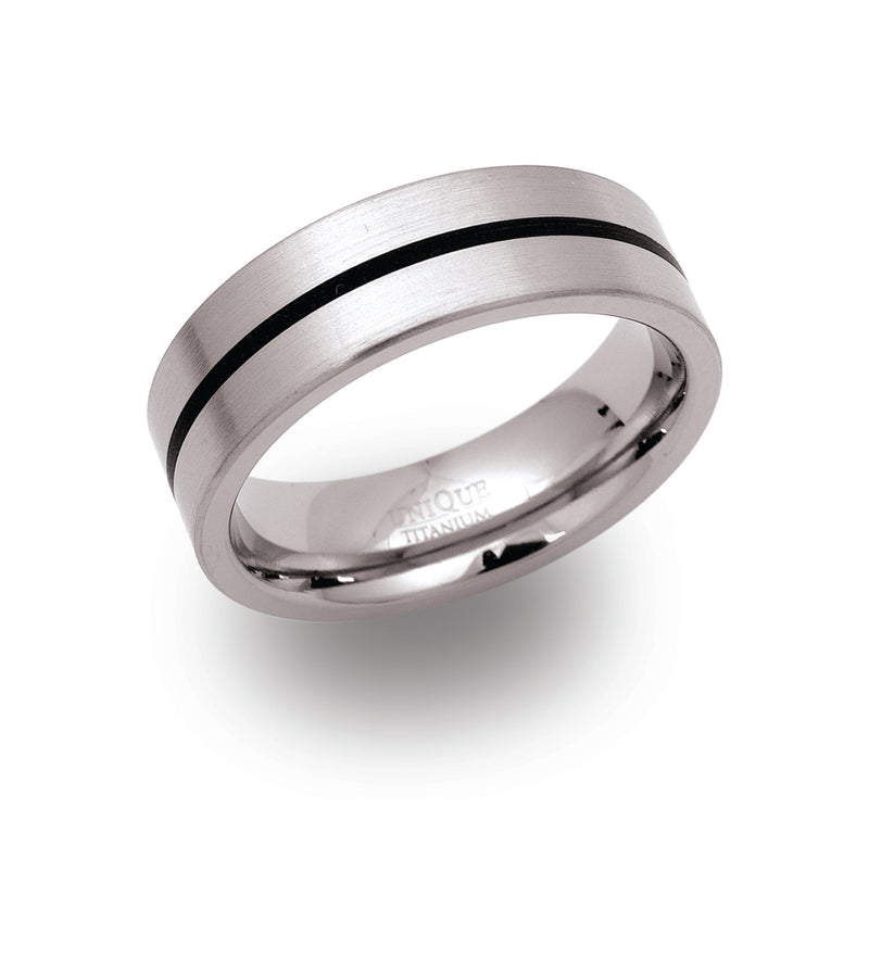 Gents Titanium Ring 7mm Wide With Lacquer Inlay Tramline TR-20