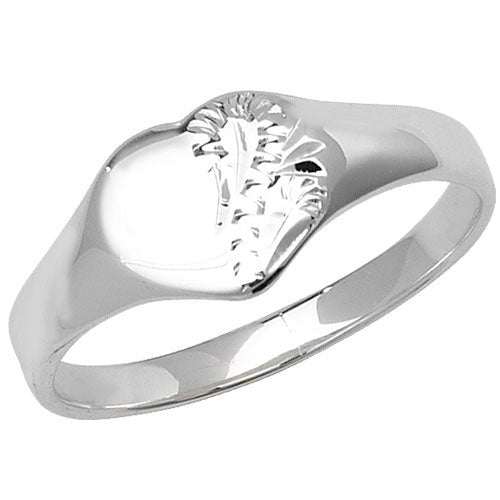 Silver Engraved Heart Shape Signet Ring