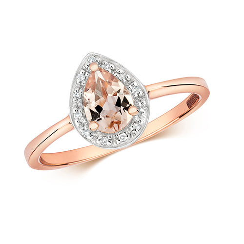 Ladies 9ct Rose Gold Pear Cut Morganite And Diamond Halo Cluster Ring