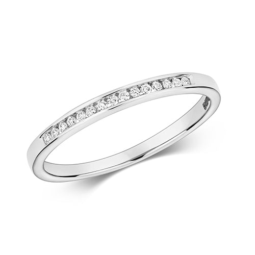 0.07ct 9ct White Gold Channel Set Ladies Diamond Wedding Ring