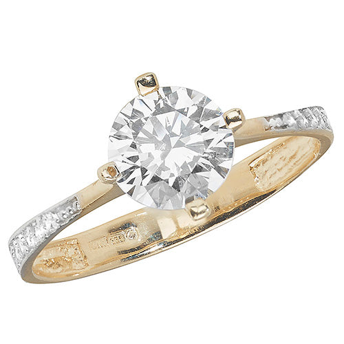 Ladies 9ct Yellow Gold Centre Stone And Shoulders Cubic Zirconium Ring