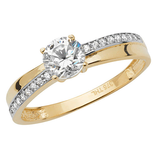 Ladies 9ct Yellow Gold  Centre And Diagonal Set Cubic Zirconium Ring