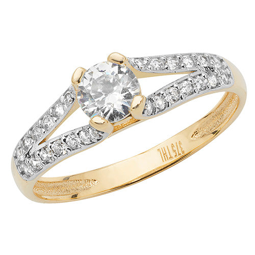Ladies 9ct Yellow Gold Open Shoulder Cubic Zirconium Ring