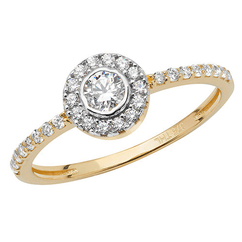 Ladies 9ct Yellow Gold Halo Centre With Outer And Shoulder Cubic Zirconium Ring
