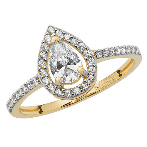Ladies 9ct Yellow Gold Pear Shape Cubic Zirconium Ring