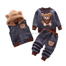 Load image into Gallery viewer, Baby 3 Pcs Teddy bear Set Toddler Clothes