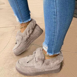 Cotton Suede Lace Up Flat Boots