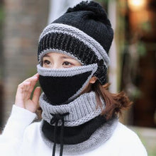 Load image into Gallery viewer, Women's winter 3-in-1 Beanie Scarf Set