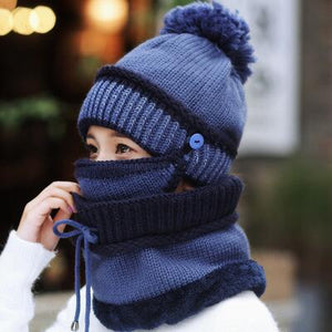 Women's winter 3-in-1 Beanie Scarf Set