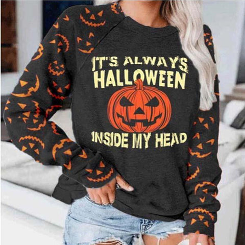 Pumpkin Round Neck Loose Sweater