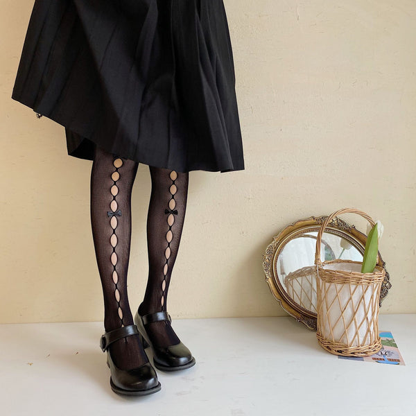Lolita Bowknot Hollow Lace Pantyhose