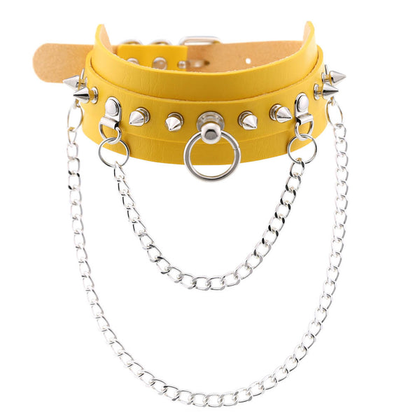 Leather Nail Rivet Collar Choker