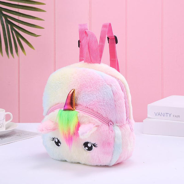 Unicorn Colorful  Plush Backpack