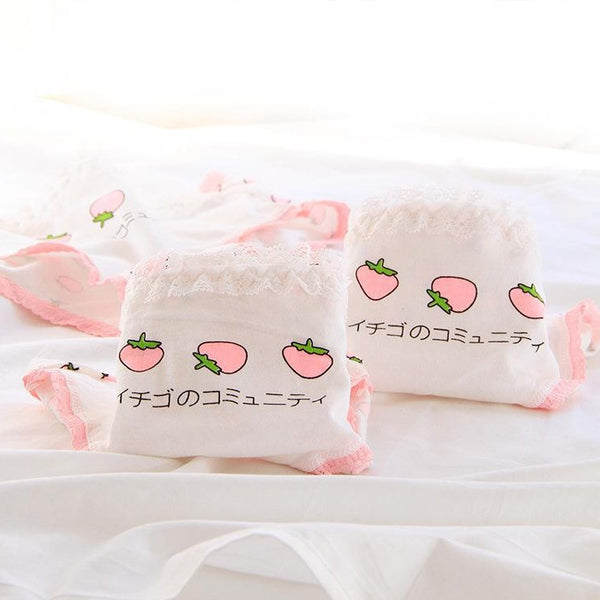 Kawaii Strawberry Cotton Panties