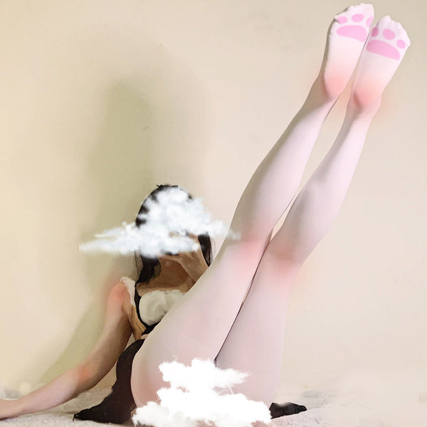 White Cat Paw Stockings