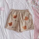 Embroidered Bear Elastic Shorts