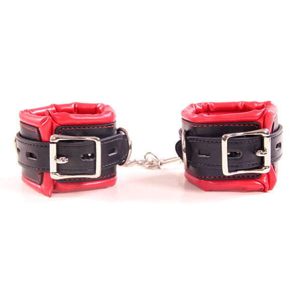 Black And Red Bondage Handcuffs