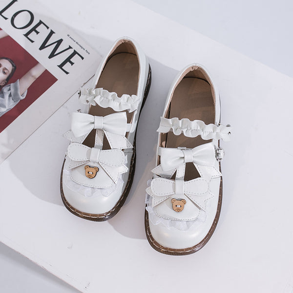 Lolita Bow Round Flat Shoes