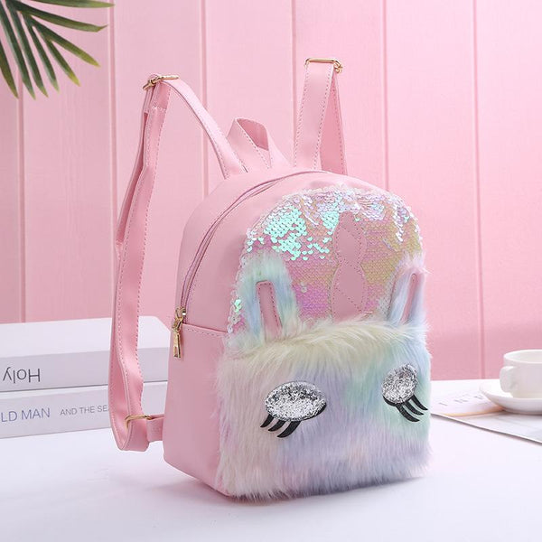 Unicorn Sequin Plush Backpack