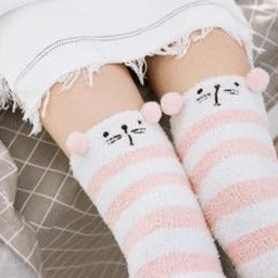 Pink Cat Thigh High Socks