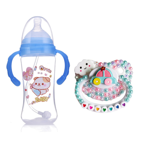 Cute Baby Bottle And Drip Pacifier Set
