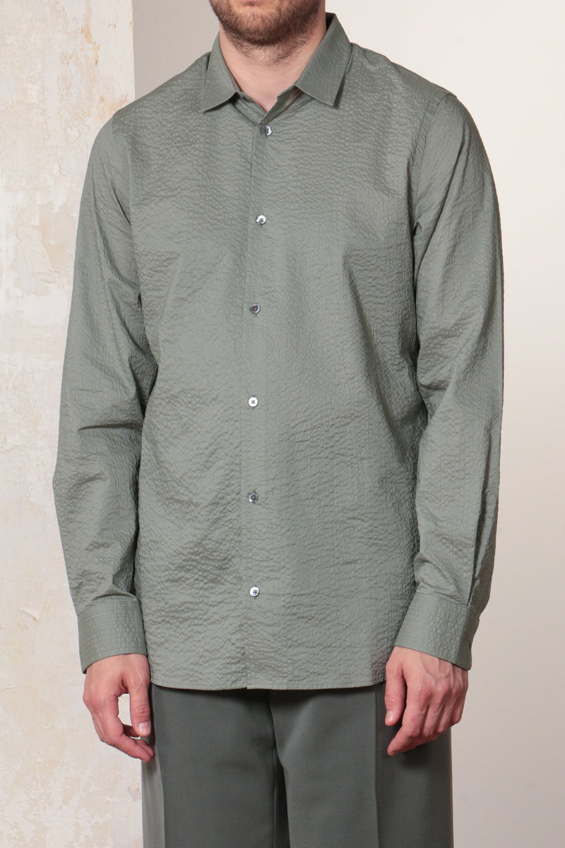 Sage Paper Touch Cotton Seersucker Standard Shirt